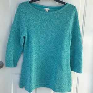 LL BEAN TEAL SCOOP NECK HEAVYWEIGHT SWEATER LARGE